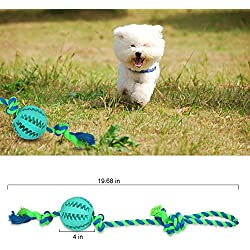 Dog Interactive Cotton Rope Tug Toys, 1PCS Dog Ball with Rope Toy for Dogs & Cats, Indestructible Dental Treat Bite Resistant Durable Soft Rubber for Pet IQ Training/Playing/Chewing