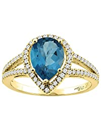 14K Gold Natural London Blue Topaz Ring Pear Shape 9x7 mm Diamond Accents, sizes 5 - 10