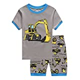 Showu Kids T-Shirts Sets Cartoon Print 100% Cotton T Shirts and Shorts for 1-6 Years Old Boys (Excavator, 4-5 Years)