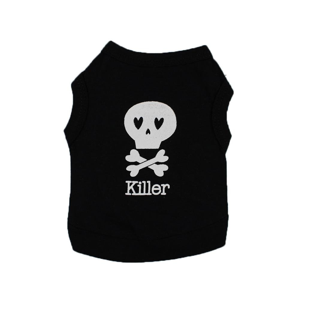 Dog Clothes Wakeu Pet Puppy Skull Killer Pattern T-shirt Apparel for Small Dog Boy Chihuahua Yorkie (Black, L)