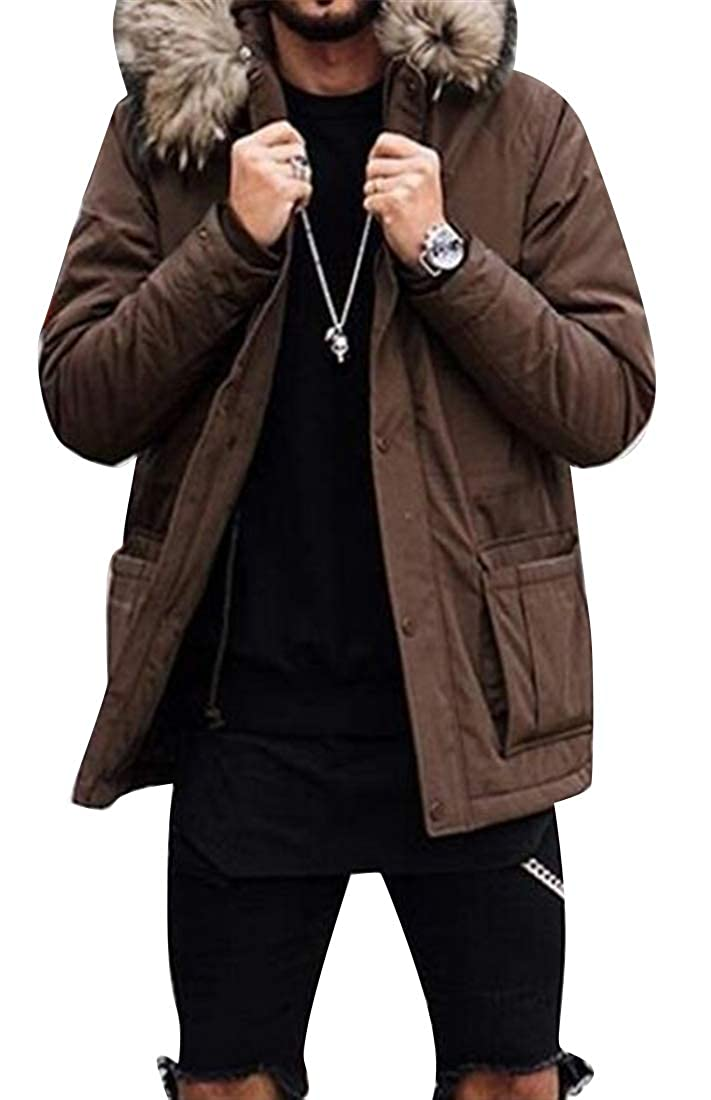Fubotevic Mens Faux Fur Collar Winter Warm Thicken Parka Solid Quilted Jacket Coat Outerwear