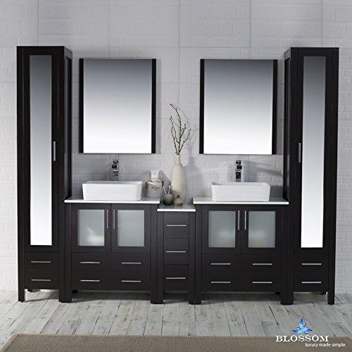 BLOSSOM 001-102-02-D-1915V-MLC Sydney 102″ Vanity Set with Vessel Sinks and Mirror Linen Cabinet Espresso