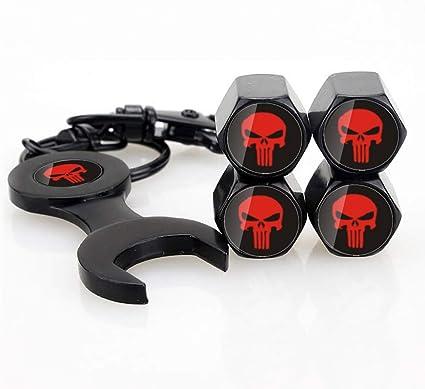 4x Keychain Tire Wheel Tyre Valve Stem Caps Set The Punisher Skull Car Air Cover