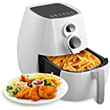 KUPPET Air Fryer-Hot Air/Deep Fryer with Basket/Rapid Air Technology For Less or No Oil/Timer & Temperature Control/8 Cooking Presets/Included Recipe,Steamer,Fryer Pan 1350W (4.76QT, White)