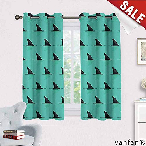 Big datastore Marine Decor Curtain Bathroom,Shark Fins in The Sea Danger in Ocean Scary Creature Swimming Illustration Room Darkening,Seafoam Black W63 x L72 -