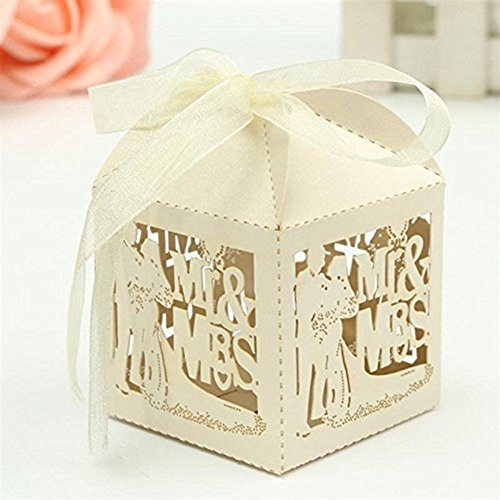 Sorive 50x Laser Cut Pearl Paper Party Wedding Favor Ribbon Candy Boxes Gift Box (Ivory)