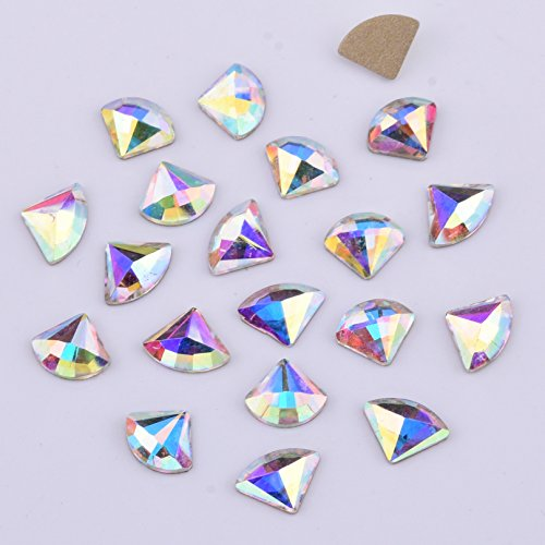 30pcs Glitter Glass Fan Flatback Crystal AB Rhinestones For Nail Decoration DIY Album Decoration Art Supply