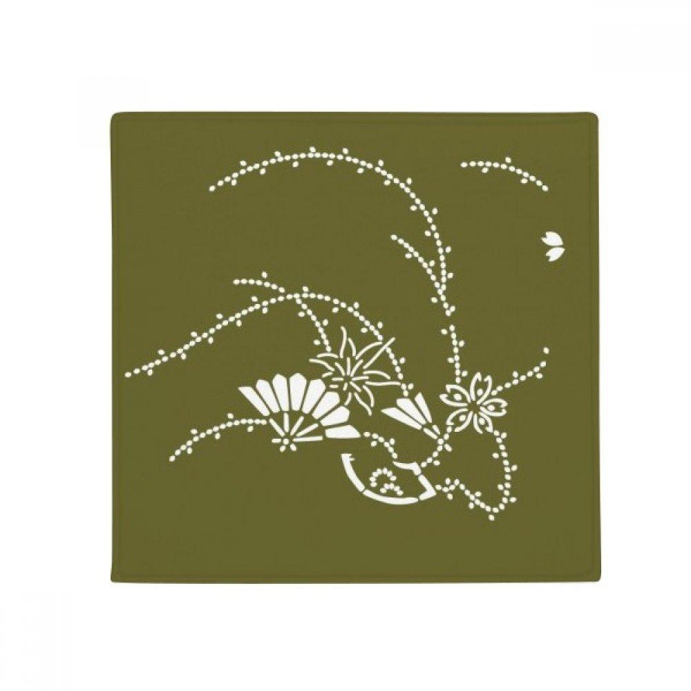 DIYthinker Painting Japanese Culture Green Flower Anti-Slip Floor Pet Mat Square Home Kitchen Door 80Cm Gift
