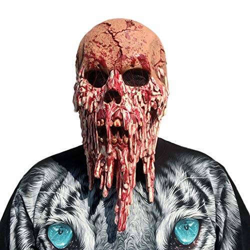XILALU Bloody Zombie Head Mask, Halloween Creepy Scary Skull Melting Face Latex Costume Cosplay Party Props Walking Dead]()