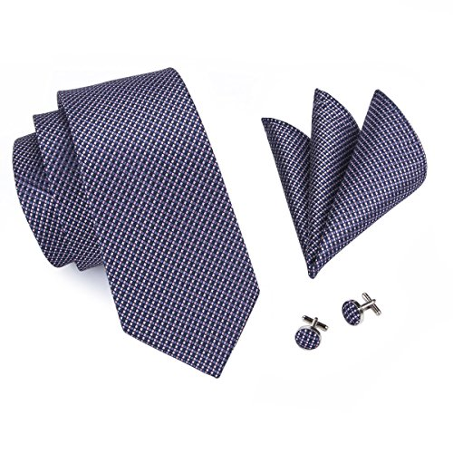Barry.Wang Ties Check Mens Necktie Set with Hanky Cufflinks Classic (Blue Plaid) by Barry.Wang