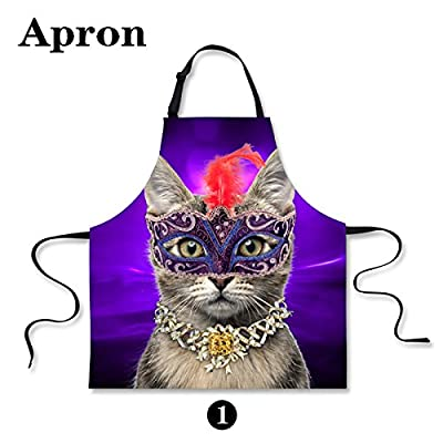 Aprons Personalized With Cute Cat Print Halloween Design For Lady's Kitchen Cooking Apron Dress Thanksgiving Christmas Gift