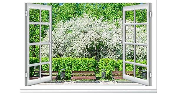 10x8ft White Windowsill Backdrop Vinyl Window View Photography Background White Window Curtains Spring Landscape Sunshine Children Kids Adult Portrait Photo Vedio Studio Props