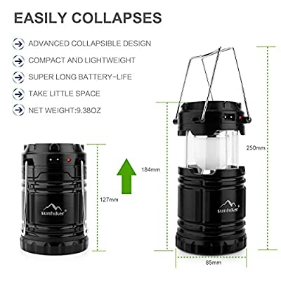 Solar Rechargeable Camping Lantern +COMPASS, 180 Lumen Collapsible LED USB Camping Light Flashlight, Portable Water Resistant Outdoor Survival Lamp for Hiking Fishing Hunting Emergency Outages -Black