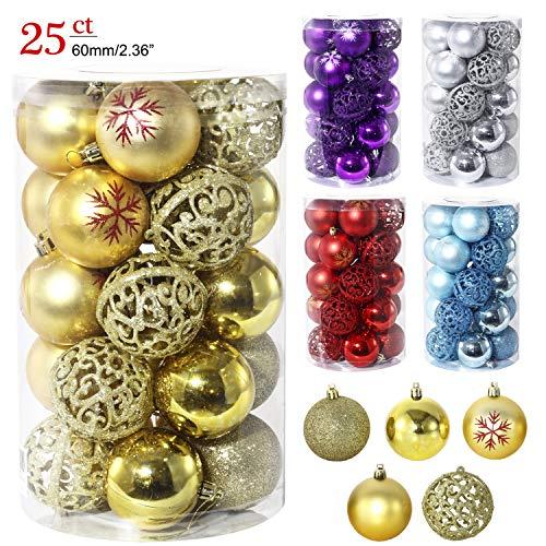 LancerPac Luxury Christmas Balls Ornaments Shatterproof 5 Finish-Shiny,Matte,Glitter,Matte Paint and Hollow,2.36