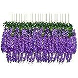 U'Artlines 24 Pack 3.6 Feet/Piece Artificial Fake Wisteria Vine Ratta Hanging Garland Silk Flowers String Home Party Wedding Decor (24, Purple)