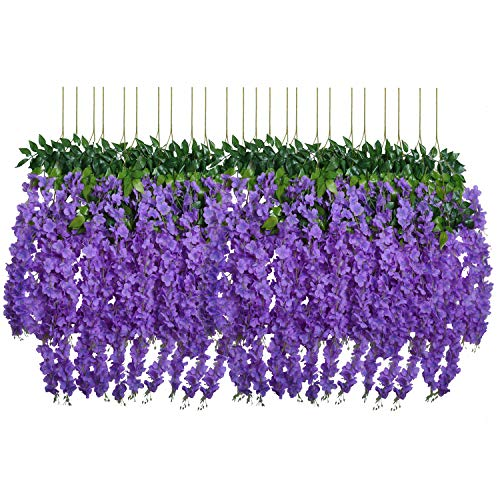 - U'Artlines 24 Pack 3.6 Feet/Piece Artificial Fake Wisteria Vine Ratta Hanging Garland Silk Flowers String Home Party Wedding Decor (24, Purple)