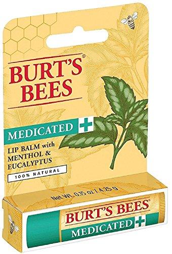 Burt's Bees Medicated Lip Balm, Menthol & Eucalyptus 0.15 oz (Pack of 2) by Burt's Bees
