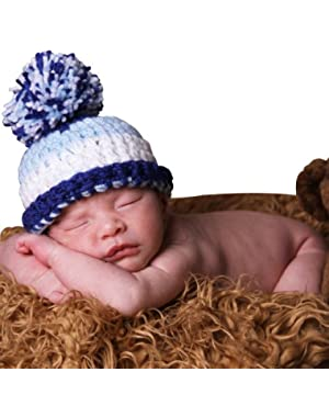 Melondipity's Blue and White Stripes Baby and Toddler Boy Pom Pom Hat