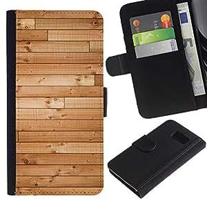 Billetera de Cuero Caso Titular de la tarjeta Carcasa Funda para Samsung Galaxy S6 SM-G920 / Wood Hard Floor Texture Ship Brown / STRONG