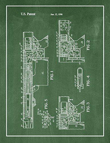 """Frame a Patent Trigger Mechanism Semi-automatic Rifle Patent Print Green Chalkboard with Border (24"""" x 36"""") M11688"""