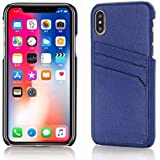 Starred Wallet Case for iPhone Xs Max Slim PU Leather Case with Card Holder Slots, Cover (Blue)