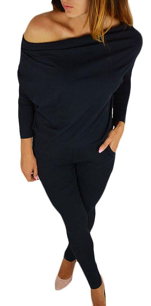 Donna Tute Eleganti Tutine Intere Jumpsuit Lunghi Estive Manica Lunga Senza Spalline Casuale Tubino Tuta Taglie Forti Puro Colore con Tasca Pagliaccetto Playsuits S-2Xl