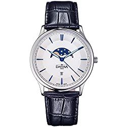 Davosa Swiss Made Quartz Movement Men's Leather Strap Wrist Analog Watch Flatline Phase Of Moon 16249615