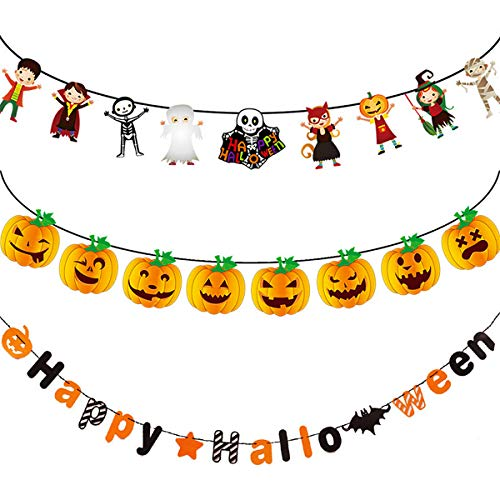 BOENFU Halloween Banners Flags 3 Pack, Halloween Party Hanging Decorations Supplies Happy Halloween Banner Pumpkin Wizard Mummy Witch Skull and Bat for Indoors and Outdoors -