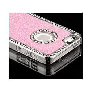 Pink Shiny Rhinestone Glitter Glittered Metallic Chrome Apple iPhone 5 Cover Case