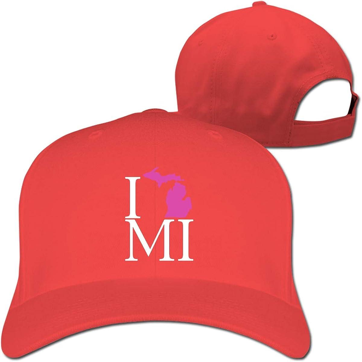 I Love Michigan Pink 1 Unisex Pure Color Baseball Cap Classic Adjustable Dad Hat
