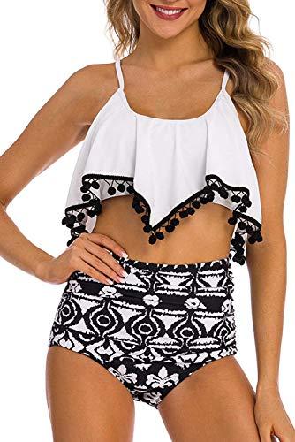 (Adisputent Women's Two Piece Swimsuit Flounce Ruffles Swimwear Junior Vintage Bathing Suit High Waisted Bottom Bikini Set (Tassel Lattice,L))
