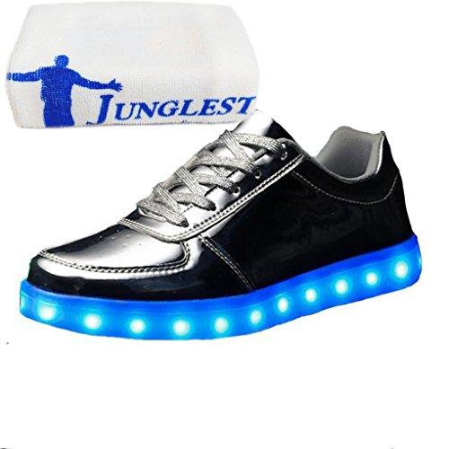 (Present:small towel)JUNGLEST® Women Men Couple LED Light Glow Sneakers USB Cha Silver sXSkGK