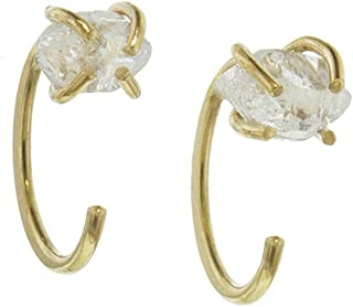 product image for Melissa Joy Manning 14k Gold Crystal Hug Hoop Earrings