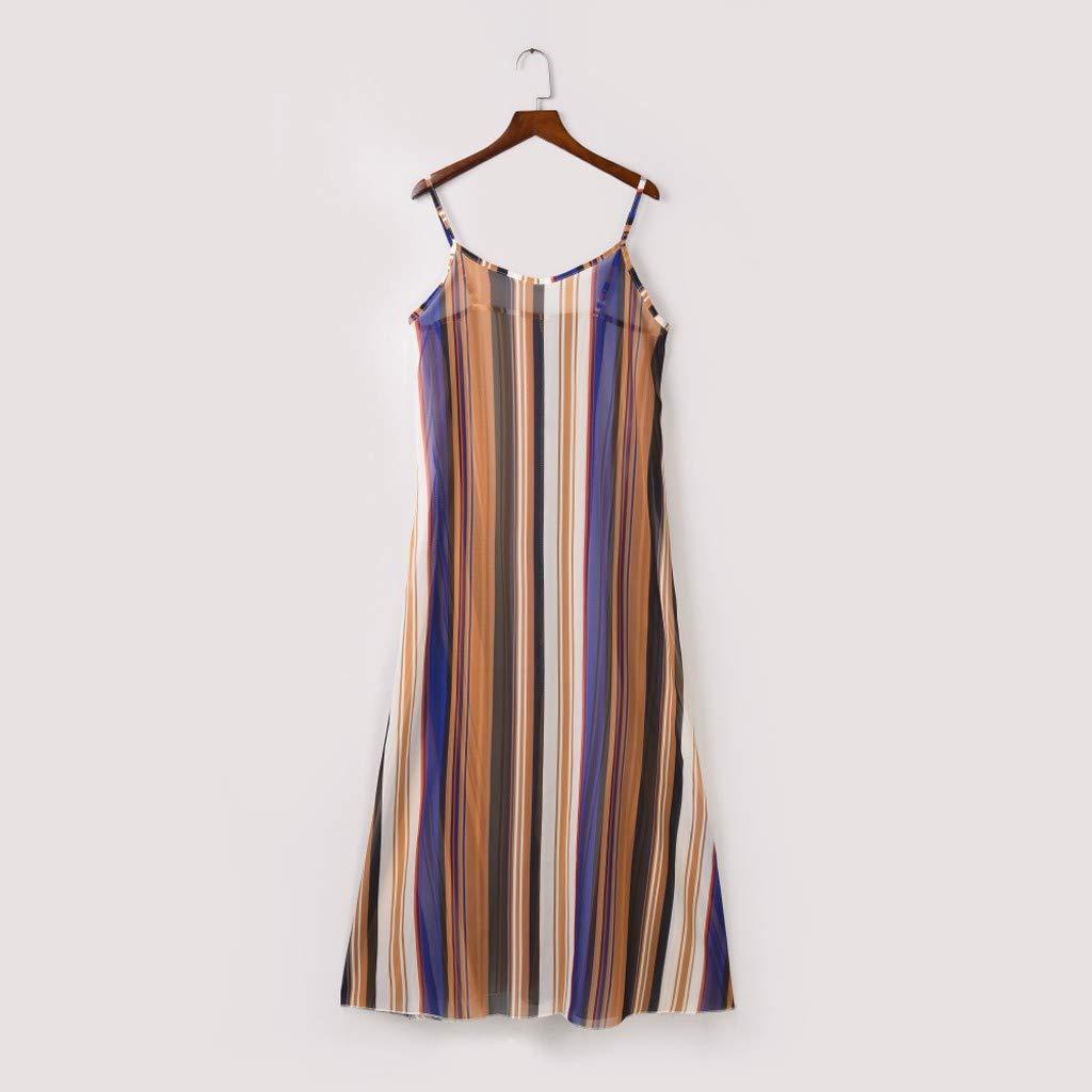 Damen Streifen Taille /Ärmellos Kleid, LeeMon Frauen Boho Streifen Camisole /Ärmelloses Kleid Damen Oansatz Party Sommerkleid