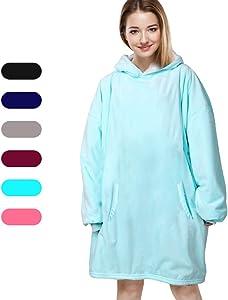 Felicigeely Blanket Sweatshirt,Oversized Hoodie Wearable Blanket,Soft Warm Comfortable Giant Front Pocket for Adults Men Women Teens Friends