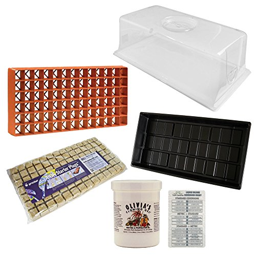 Vented Humidity Dome 7.5, Cut kit Tray 11x21, Grodan Gro-Smart Tray 78-Cell Terracotta, Olivia's Cloning Gel, 4 oz & Grodan A-OK Starter Cubes, 1.5, Sheet of 98 + Twin Canaries Chart