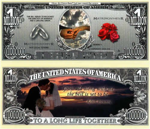 Set of 10 Bills-Wedding Million Dollar Bill