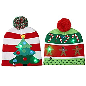 b66fa82763abe Amazon.com  TiTa-Dong 2 Pack LED Light Up Christmas Hat Beanie Knit ...