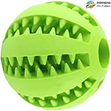 """EVERFRIEND Interactive Soft Rubber Dog Toy - Ball for Dogs, Puppies - Virtually Indestructible Dog Ball - Treat (Food) Dispenser Dog Toys - Teeth Cleaning, IQ Training , Playing- 2.8"""" (7cm) (green)"""