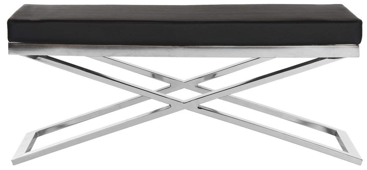 Safavieh Home Collection Acra Modern Glam Black and Silver Bench