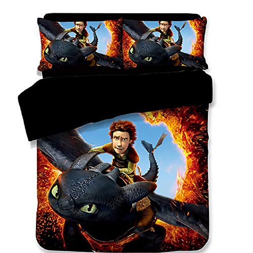 Bedding Set 3D How to Train Your Dragon Series Print Duvet Cover with Pillowcases Men Teen Boys Kids Bedding Set (Full - Duvet Series Cover