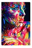 Startonight Canvas Wall Art Colored Painted Woman, Abstract Women USA Design for Home Decor, Dual View Surprise Wall Art 31.5 X 47.2 Inch 100% Original Art Painting!