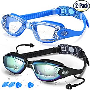 COOLOO Swim Goggles, Pack of 2, Swimming Goggles for Adult Men Women Youth Kids Child, Triathlon Equipment, with Mirrored & Clear Anti-Fog, Waterproof, UV 400 Protection Lenses, Made by