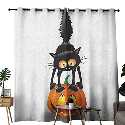 duommhome Halloween Simple Curtain Black Cat on Pumpkin Drawing Spooky Cartoon Characters Halloween Humor Art Darkening and Thermal Insulating W120 x L84 Orange Black