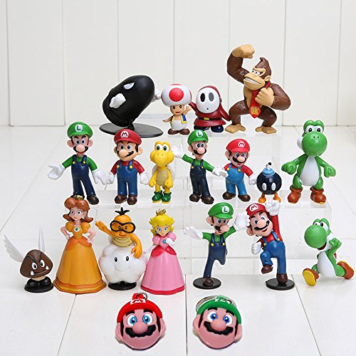 WanPro Super Mario Brothers Action Figures Set (18 Piece) and Keychains (2 Piece) (Mario Figure Keychain)