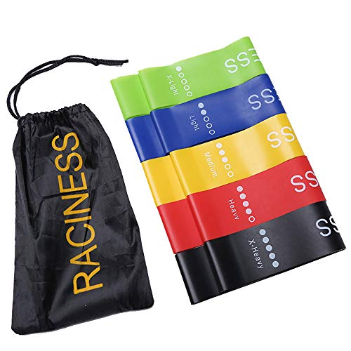 Raciness Resistance Bands Sets Loops Exercise Bands for Legs and Butt Workout Home Stretch Bands Carrying Bag Set of 5