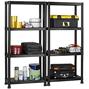 VonHaus Pack of Two 4 Tier Plastic Shelving Utility Unit Shed Garage Storage Freestanding Shelves System - 200Kg Capacity - 25Kg Per Shelf - Ideal Office, Garden, Studio, Workshop - 132 x 122 x 30.5cm - Wall Braces