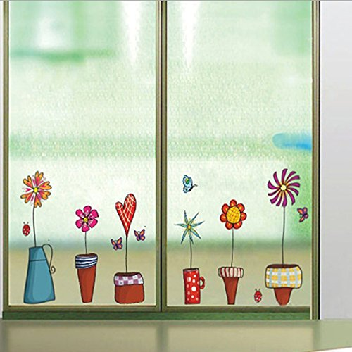 Wall Sticker Flowers Pots Small Garden Plants Butterflies Paper Home Decal Removable Wall Vinyl Window Decor Living Room Bedroom PVC Art Waterproof DIY Sticker