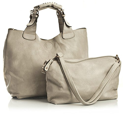 2 in Shoulder Tote in Top Big Womens Handle Large Handbag One Faux Leather Two Light Shop Bag Beige 1 Vegan RwPFgwqC