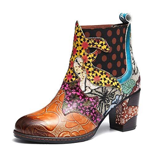 Colorées Chaussures Ville Hiver Original Marron Bottes Confortable Conforts Chelsea À Pointu Femmes Gracosy Boheme Bout Hauts Design Cuir Bottines Boots Talons De BCxqAF